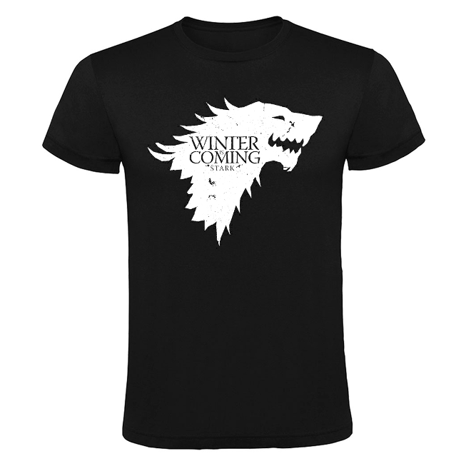 Camiseta Lobo de Juego de tronos - Winter is coming negra - Camisetas de Juego de Tronos